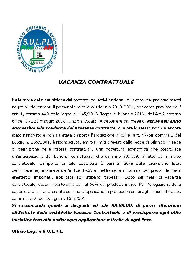 Vacanza Contrattuale SULPL page 001